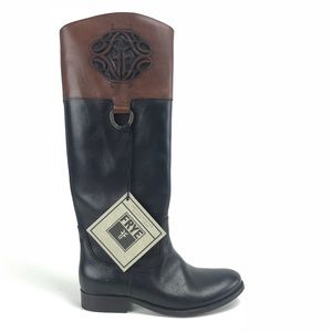 Frye Melissa Logo Antiqued Polished Leather Boots